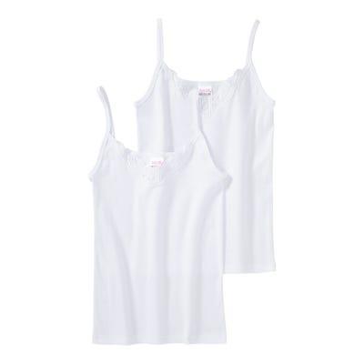 Damen-Unterhemd mit Spitzeneinsatz, 2er Pack