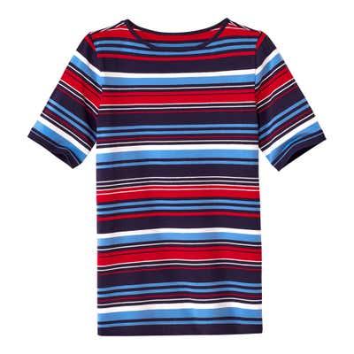 Damen-T-Shirt mit farbenfrohen Streifen