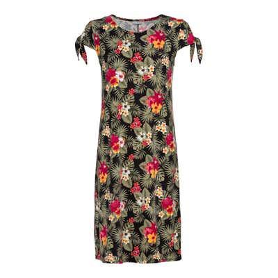 Damen-Kleid mit Bindebändern am Ärmelabschluss