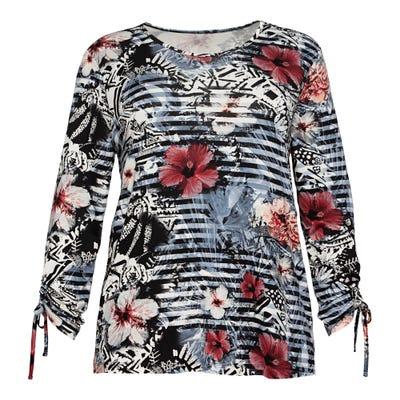 Damen-Shirt mit Blüten-Motiven, große Größen