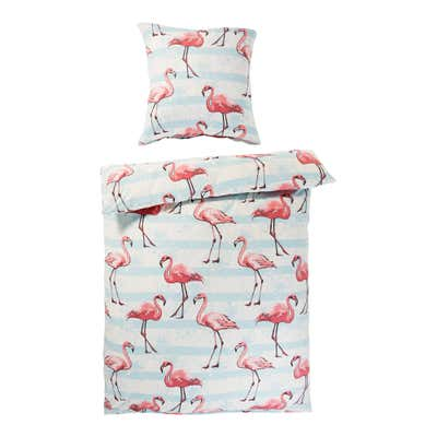 Polycotton-Bettwäsche mit Flamingo-Design