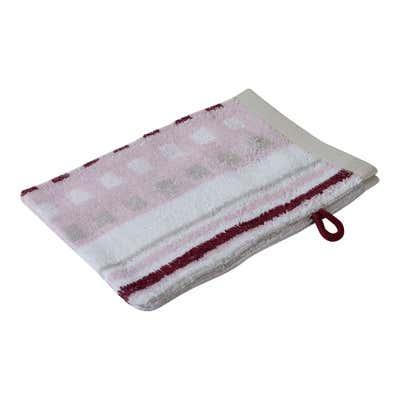 Waschhandschuh mit Streifen und Karos, 16x21cm