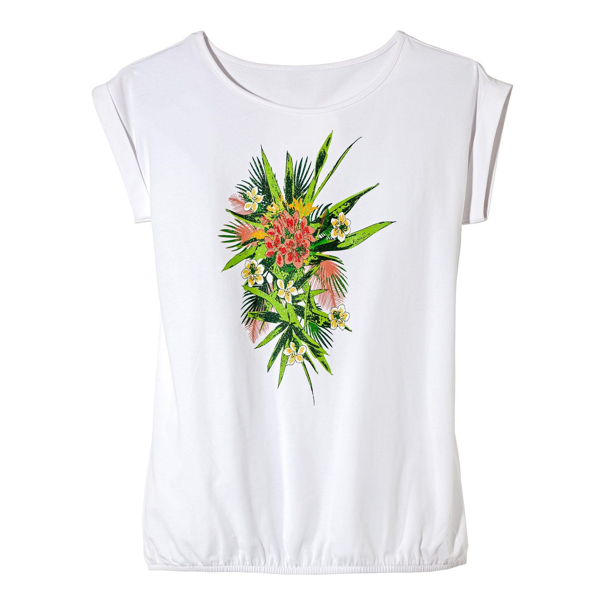 ITALY Damen Shirt Print LOVE Leo Basic T-Shirt Weiß Bunt 40//42 NEU