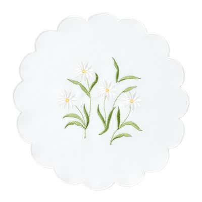 Deckchen mit Frühlings-Stickerei, Ø ca. 29cm