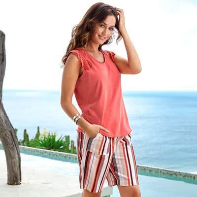 Damen-Bermudas aus luftigem Leinen