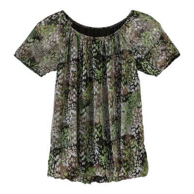 Damen-Bluse mit elastischer Halsöffnung