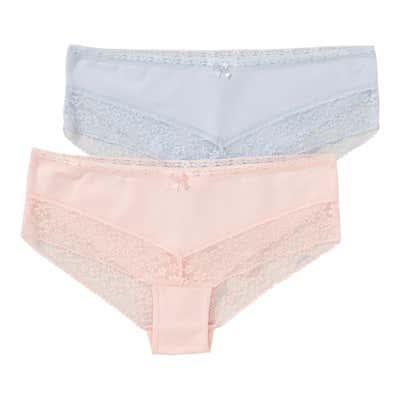 Damen-Hipster-Panty mit Spitzenrändern, 2er Pack