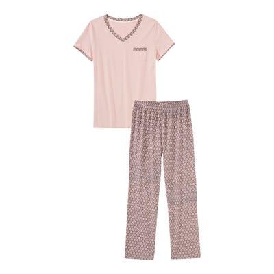 Damen-Schlafanzug mit Kreis-Muster, 2-teilig