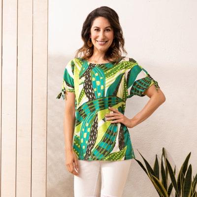 Damen-T-Shirt  mit feschen Bindebändern