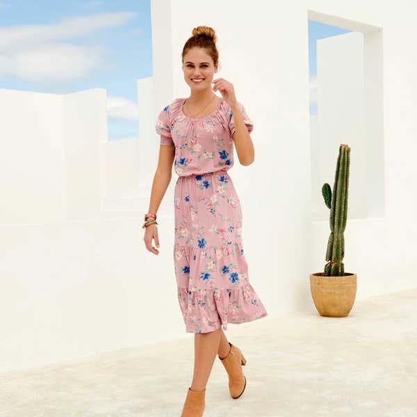 Damen-Kleid mit Volant am Saum