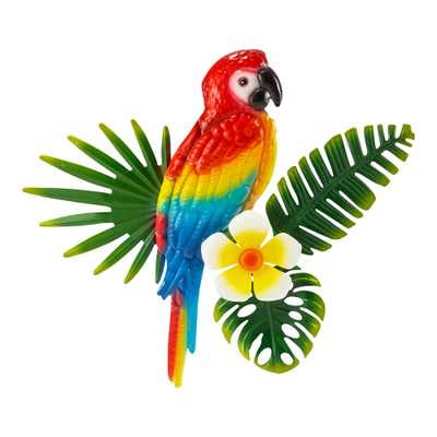 Wanddekoration mit tropischem Vogel, Ø ca. 31cm