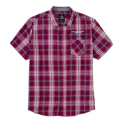 Herren-Seersucker-Hemd mit Karomuster, große Größen