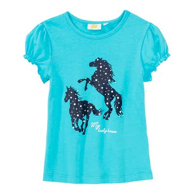 Mädchen-T-Shirt mit Pferde-Frontaufdruck