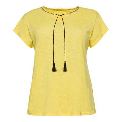 Damen-T-Shirt mit kontrastfrabenen Zierbändern, große Größen