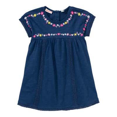Baby-Mädchen-Kleid mit Blümchen-Stickerei