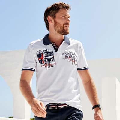 Herren-Poloshirt in nautischem Design