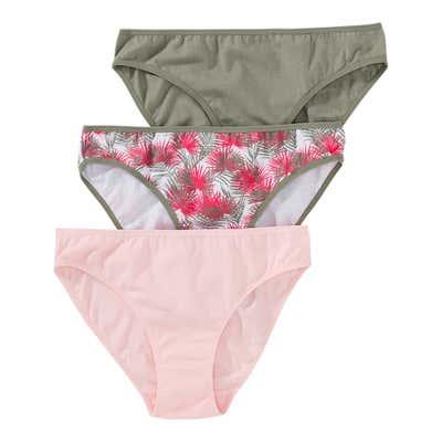 Damen-Minislip mit Palmblatt-Muster, 3er Pack