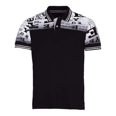 Herren-Poloshirt mit Newspaper-Design