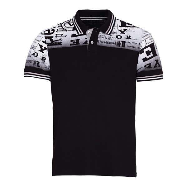 Herren-Poloshirt mit Newspaper-Design