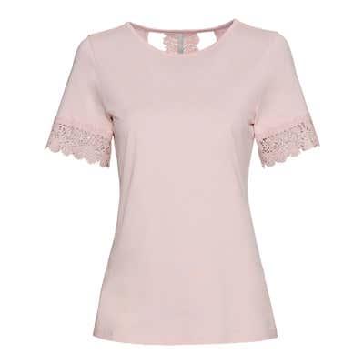 Damen-T-Shirt mit Spitzeneinsatz am Rücken