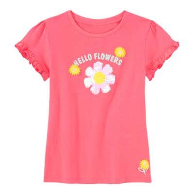 Mädchen-T-Shirt mit Blume aus Wendepailletten
