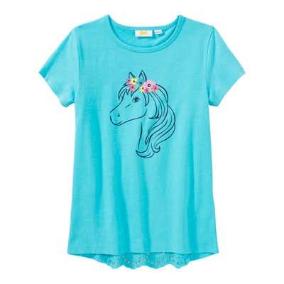 Mädchen-T-Shirt mit Spitzeneinsatz am Rücken