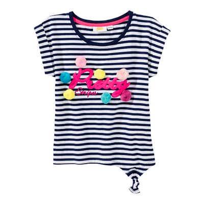 Mädchen-T-Shirt mit Pompon-Verzierung