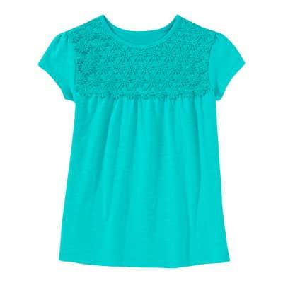 Mädchen-T-Shirt mit Blümchen-Spitze