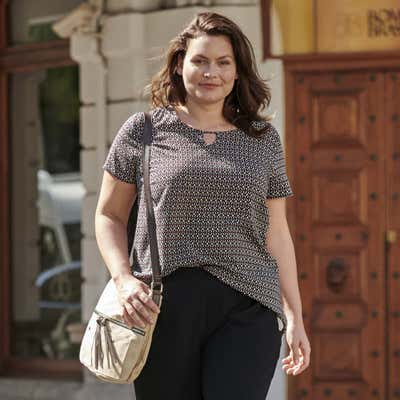 Damen-Bluse mit Schlüsselloch-Ausschnitt, große Größen