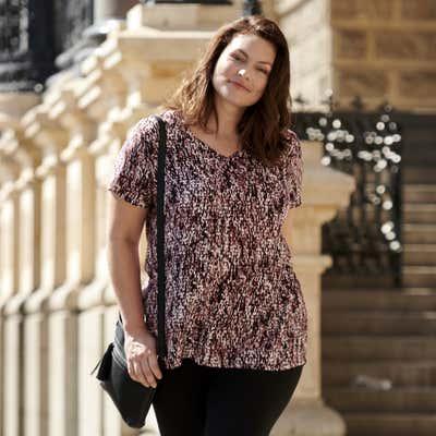 Damen-Bluse mit trendigem Muster, große Größen