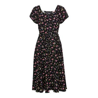 Damen-Kleid mit Blümchen-Muster, mit Bindegürtel