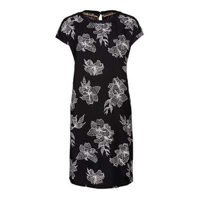 Damen-Kleid mit modernen Blütenmotiven