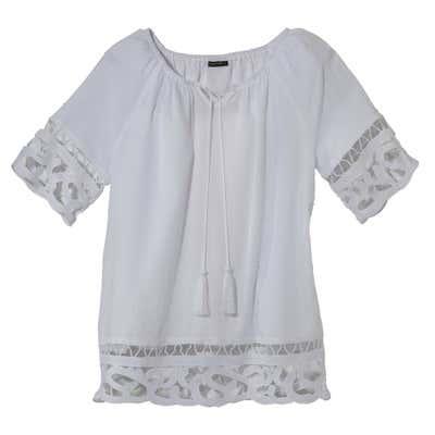 Damen-Bluse mit modischer Spitze