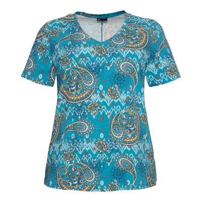 Damen-T-Shirt mit Paisley-Muster, große Größen