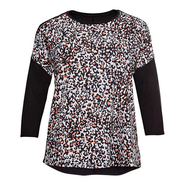 Damen-Bluse mit Kontrast-Ärmeln, große Größen