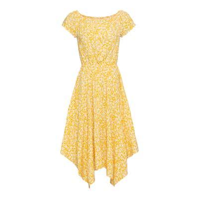 Damen-Kleid mit Zipfeln am Saum