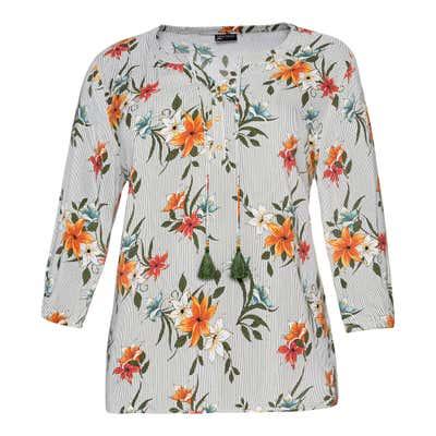 Damen-Bluse mit hübschem Blütendesign, große Größen