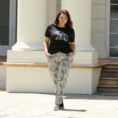 Damen-Stoffhose mit Palmblatt-Design, große Größen
