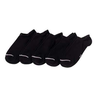 Damen-Sneaker-Socken mit Kontrast-Streifen, 5er Pack