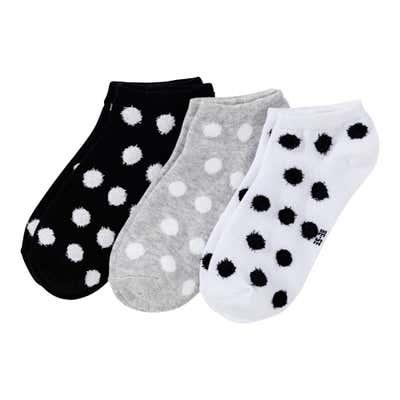 Damen-Sneaker-Socken mit Plüsch-Punkten, 3er Pack