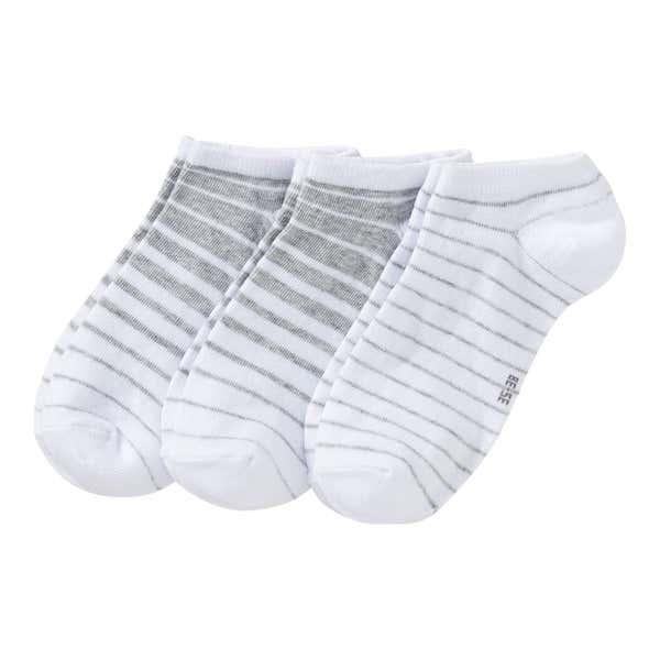 Damen-Sneaker-Socken mit Streifenmuster, 3er Pack