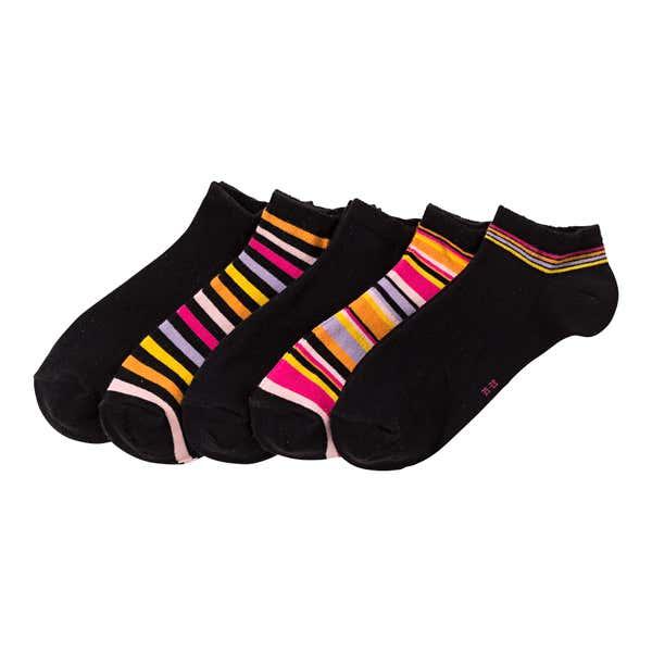 Damen-Sneaker-Socken mit trendigen Streifen, 5er Pack