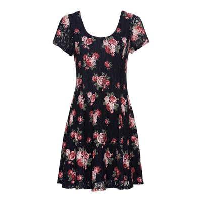 Damen-Kleid mit gemusterter Spitze