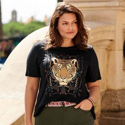 Damen-T-Shirt mit dekorativen Quasten