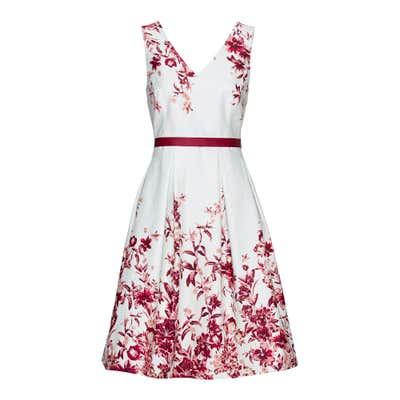 Damen-Kleid mit faszinierendem Blumendesign, mit Bindegürtel