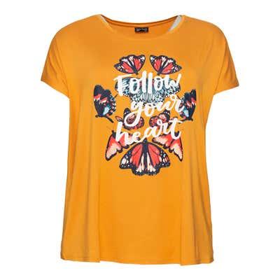 Damen-T-Shirt mit Schmetterlings-Frontaufdruck, große Größen