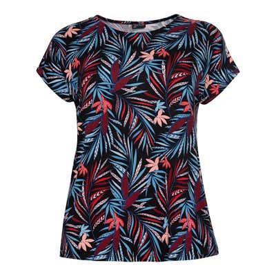 Damen-T-Shirt mit Palmblatt-Muster, große Größen