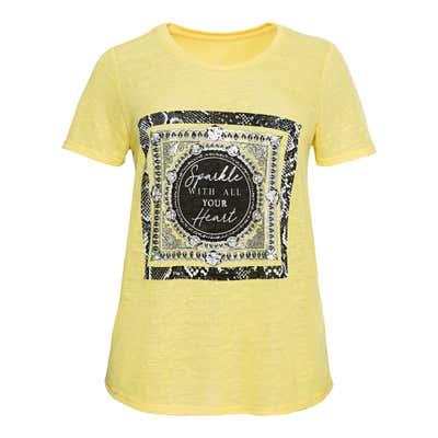 Damen-T-Shirt mit modernem Frontaufdruck, große Großen