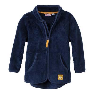 Baby-Jungen-Plüsch-Jacke mit süßem Bär-Aufnäher