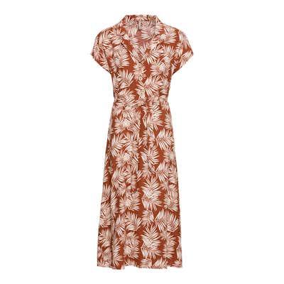 Damen-Kleid mit Palmblatt-Muster, mit Gürtel